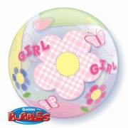 BALÃO BUBBLE BABY GIRL BUTTERFLIES  - 22 POLEGADAS - QUALATEX #69729