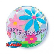 BALÃO BUBBLE BIRTHDAY FUNKY FLOWERS - 22 POLEGADAS  - QUALATEX #68650