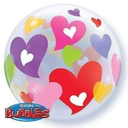 BALÃO BUBBLE COLORFUL HEARTS - 22 POLEGADAS - QUALATEX #27406