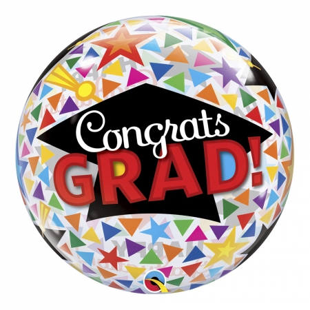BALÃO BUBBLE CONGRATS GRAD CAPS & TRIANGLES - 22 POLEGADAS  - QUALATEX #47366
