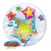 BALÃO BUBBLE DUPLO MULTICOLORED STARS - 24 POLEGADAS  - QUALATEX #11962