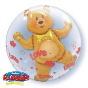 BALÃO BUBBLE DUPLO URSO LOVE HEARTS - 24 POLEGADAS  - QUALATEX #15612