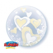 BALÃO BUBBLE DUPLO WHITE & IVORY FLOATING HEARTS - 24 POLEGADAS  - QUALATEX #29489