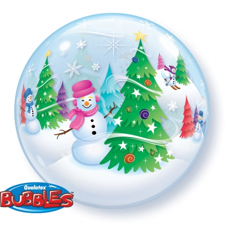BALÃO BUBBLE FESTIVE TREES & SNOWMEN - 22 POLEGADAS  - QUALATEX #31851