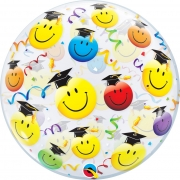 BALÃO BUBBLE GRAD SMILE FACES - 22 POLEGADAS - QUALATEX #18694