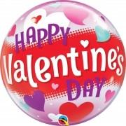 BALÃO BUBBLE HAPPY VALENTINES DAY HEARTS 22 POLEGADAS - QUALATEX #54603