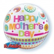 BALÃO BUBBLE MOTHER'S DAY DOTS & PATTERNS - 22 POLEGADAS - QUALATEX #24387