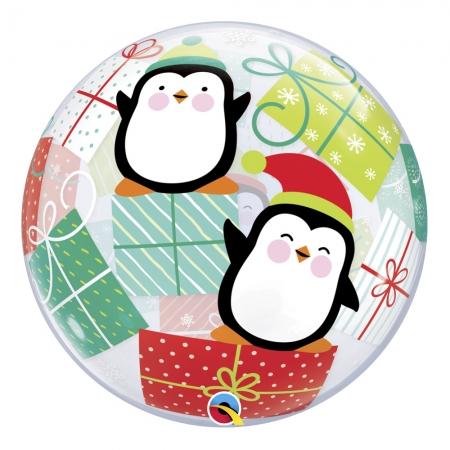 BALÃO BUBBLE PINGUINS E PRESENTES - 22 POLEGADAS  - QUALATEX #43438