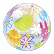 BALÃO BUBBLE SPRING BUNNIES & FLOWERS - 22 POLEGADAS  - QUALATEX #90595