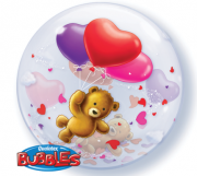 BALÃO BUBBLE TEDDY BEAR'S FLOATING HEARTS  - 22 POLEGADAS - QUALATEX #65205