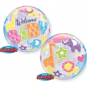 BALÃO BUBBLE WELCOME BABY ANIMALS 22 POLEGADAS - QUALATEX #25898
