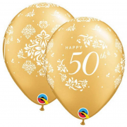 BALÃO DE LÁTEX 11 POLEGADAS 50 ANNIVERSARY DAMASK OURO PC 50 -  QUALATEX #49690