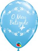 BALÃO DE LÁTEX 11 POLEGADAS AZUL MEU BATIZADO BORBOLETA PC 50 -  QUALATEX #44578