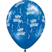 BALÃO DE LÁTEX 11 POLEGADAS AZUL SAFIRA HAPPY BIRTHDAY PC 50 -  QUALATEX #37091
