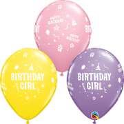 BALÃO DE LÁTEX 11 POLEGADAS HAPPY BIRTHDAY GIRL PC 06 -  QUALATEX #18272
