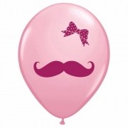 BALÃO DE LÁTEX 11 POLEGADAS MUSTACHE & RIBBON PC 50 -  QUALATEX #65903