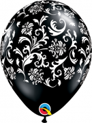 BALÃO DE LÁTEX 11 POLEGADAS PRETO COM ESTAMPAS DE DAMASK PC 50 -  QUALATEX #37506