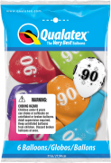 BALÃO DE LÁTEX 11 POLEGADAS SORTIDO DECORADO NÚMERO 90 PC 6 -  QUALATEX #49604