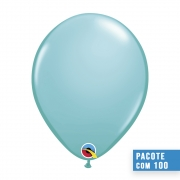 BALÃO DE LÁTEX AZUL CARIBE 11 POLEGADAS - PC 100UN - QUALATEX #50322