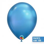 BALÃO DE LÁTEX AZUL CHROME 11 POLEGADAS - PC 100UN - QUALATEX #58272