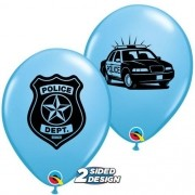 BALÃO DE LÁTEX AZUL CLARO POLICE DEPT 11 POLEGADAS PC 50 -  QUALATEX #85836