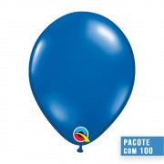 BALÃO DE LÁTEX AZUL SAFIRA  9 POLEGADAS - PC 100UN - QUALATEX #43706