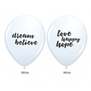 BALÃO DE LÁTEX BRANCO 11 POLEGADAS DREAM BELIEVE LOVE HAPPY HOPE PC 04 -  QUALATEX #53511A4