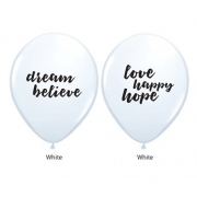 BALÃO DE LÁTEX BRANCO 11 POLEGADAS DREAM BELIEVE LOVE HAPPY HOPE PC 50 -  QUALATEX #53511A