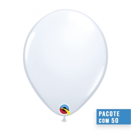 BALÃO DE LÁTEX BRANCO 16 POLEGADAS - PC 50UN - QUALATEX #43904