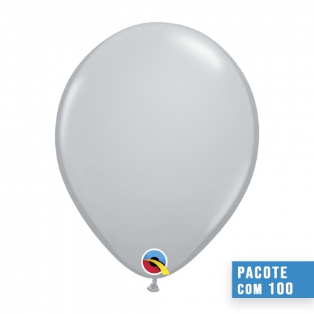 BALÃO DE LÁTEX CINZA 5 POLEGADAS - PC 100UN - QUALATEX #69645