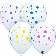 BALÃO DE LÁTEX COLORFUL DOTS 11 POLEGADAS - UNITÁRIO - QUALATEX #88217U
