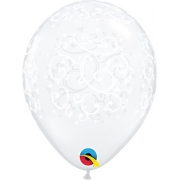 BALÃO DE LÁTEX DECORADO COM FILIGRANA E CORAÇÕES 5 POLEGADAS - PC 100UN - QUALATEX #19190