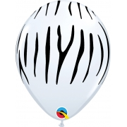 BALÃO DE LATEX LISTRAS DE ZEBRA 11 POLEGADAS PC 50 -  QUALATEX #55477