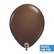 BALÃO DE LÁTEX MARROM CHOCOLATE 11 POLEGADAS - PC 100UN - QUALATEX #68778