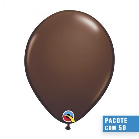 BALÃO DE LÁTEX MARROM CHOCOLATE 16 POLEGADAS - PC 50UN - QUALATEX #21863