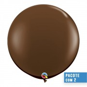 BALÃO DE LÁTEX MARROM CHOCOLATE 3 PÉS - PC 2UN - QUALATEX #83660