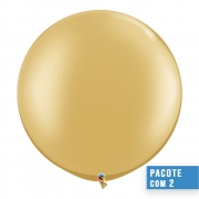 BALÃO DE LÁTEX OURO 30 POLEGADAS - PC 2UN - QUALATEX #38422
