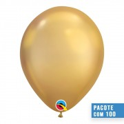 BALÃO DE LÁTEX OURO CHROME 11 POLEGADAS - PC 100UN - QUALATEX #58271