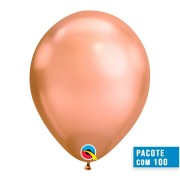 BALÃO DE LÁTEX OURO ROSE CHROME 11 POLEGADAS - PC 100UN - QUALATEX #12966