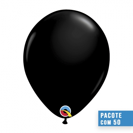 BALÃO DE LÁTEX PRETO ÔNIX 16 POLEGADAS - PC 50UN - QUALATEX #43858