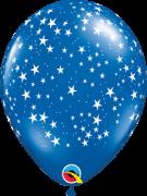 BALÃO DE LÁTEX SAPHIRE BLUE ESTRELAS 11 POLEGADAS PC 50 -  QUALATEX #87624