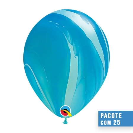 BALÃO DE LÁTEX SUPERAGATE ARCO-ÍRIS AZUL 11 POLEGADAS - PC 25UN - QUALATEX #91538