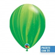 BALÃO DE LÁTEX SUPERAGATE ARCO-ÍRIS VERDE 11 POLEGADAS - PC 25UN - QUALATEX #91539