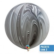 BALÃO DE LÁTEX SUPERAGATE PRETO E BRANCO 30 POLEGADAS - PC 2UN - QUALATEX #35206