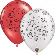 BALÃO DE LÁTEX SWIRL HEARTS 11 POLEGADAS - PC 50UN - QUALATEX  #76877