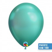 BALÃO DE LÁTEX VERDE CHROME 11 POLEGADAS - PC 100UN - QUALATEX #58273