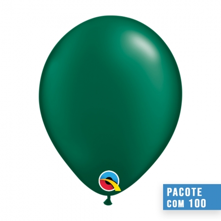 BALÃO DE LÁTEX VERDE FLORESTA PEROLADO 11 POLEGADAS - PC 100UN - QUALATEX #43773