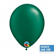 BALÃO DE LÁTEX VERDE FLORESTA PEROLADO 5 POLEGADAS - PC 100UN - QUALATEX #43582
