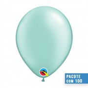 BALÃO DE LÁTEX VERDE MENTA PEROLADO 5 POLEGADAS - PC 100UN - QUALATEX #43590