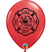 BALÃO DE LÁTEX VERMELHO FIRE DEPT 11 POLEGADAS PC 50 -  QUALATEX #85835